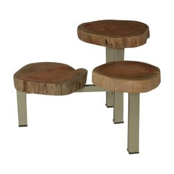 Natural Edge Acacia Wood & Iron 3 Stump Top Accent Table
