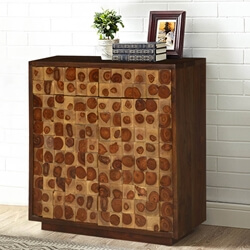 Blasdell Tree Rings Tiles Solid Wood 2 Drawer Storage Cabinet