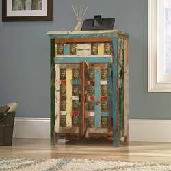 Winifred Rustic Reclaimed Wood Brass Inlay 1 Drawer Console Cabinet