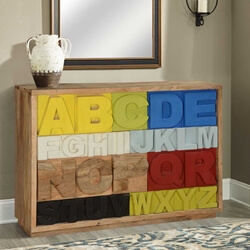 Primary Alphabet Mango Wood Multicolor 10 Drawer Chest