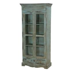 Tiro Blue Distressed Wood 4 Shelf Bookcase With Glass Doors & Drawer