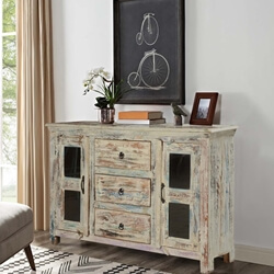 Winter Storm Mango Wood Glass Door 3 Drawer Rustic Sideboard Cabinet