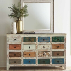 Rustic Earth Tones Mango Wood 16 Drawer Standard Horizontal Dresser