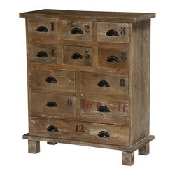 Vegas Rustic Solid Wood 11 Drawer Standard Vertical Dresser