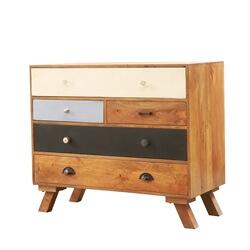 60's Mod Mango Wood 5 Drawer Standard Horizontal Dresser
