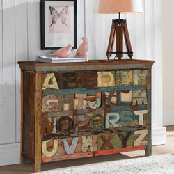 Rustic Alphabet Reclaimed Wood 8 Drawer Double Dresser