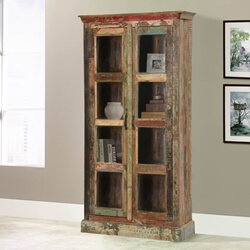 Burke Rustic Reclaimed Wood Glass Door Tall Display Cabinet