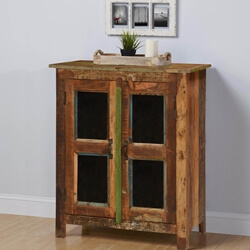 Melrose Rustic Reclaimed Wood Glass Door Floor Cabinet