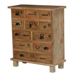 Texas Solid Wood Rustic 11 Drawer Standard Vertical Dresser