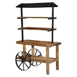 Wheel Barrow Mango Wood 4 Open Shelf Rustic Industrial Bookcase