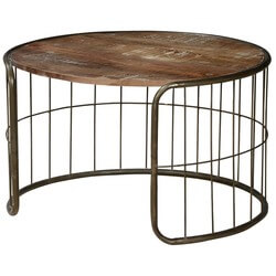 "On the Fence 30"" Round Industrial Coffee Table"