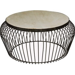 "Wire Basket Mango Wood & Iron 38"" Round Coffee Table"