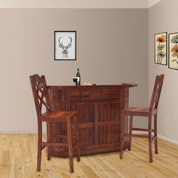 Sierra Solid Wood Wine Storage Home Bar Cabinet w Set of 2 Bar Stools
