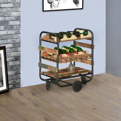 Cecilton Pioneer Reclaimed Wood Industrial Rolling Wine Rack Cart