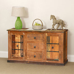 Classic Country Rustic Reclaimed Wood 3 Drawer Sideboard Cabinet