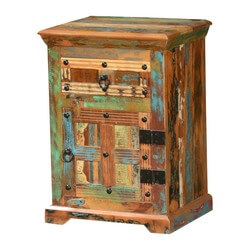 Rustic Patches Reclaimed Wood Nightstand End Table Cabinet