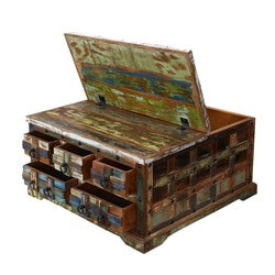 "Rustic Reclaimed Wood 36"" Square 5 Drawer Coffee Table Chest"