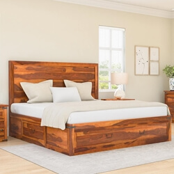 Classic Shaker Solid Wood Platform Storage Bed Frame
