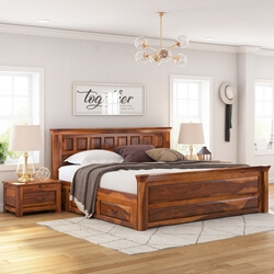 Simply Tudor Rustic Solid Wood Platform Bed w Storage