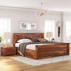 Simply Tudor Rustic Solid Wood Platform Bed w Storage