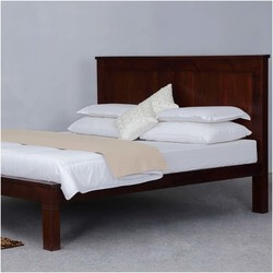 Simply Mission Acacia Wood Handcrafted Platform Bed Frame w Headboard