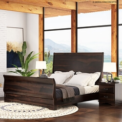 Hartsville Sleigh Back Solid Wood Platform Bed Frame