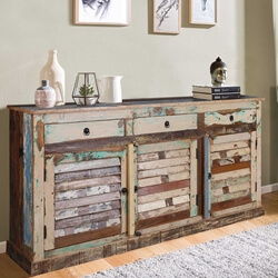 Sedona Rustic Reclaimed Wood Shutter Door 3 Drawer Large Sideboard