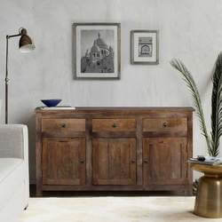 Willshire Rustic Solid Wood 3 Drawer Large Sideboard Cabinet