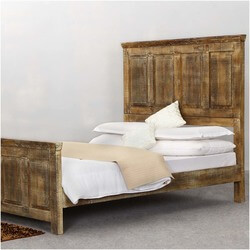 Mission Golden Rustic Wood Platform Bed w Footboard & High Headboard