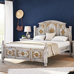 Tudor Distressed Mango Wood & Brass Inlay Platform Bed Frame