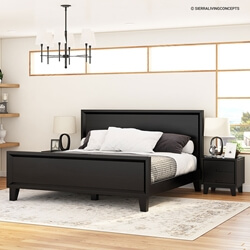 Modern Simplicity Mocha Solid Wood Black Platform Bed