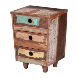 Sedona Three Drawer Reclaimed Wood Rustic End Table