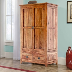 Delaware Rustic Solid Wood Bedroom Wardrobe Armoire With Shelves