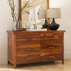 Delaware Rustic Solid Wood Bedroom 5 Drawer Double Dresser