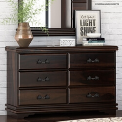 Hartsville Modern Pioneer Solid Wood 6 Drawer Double Dresser