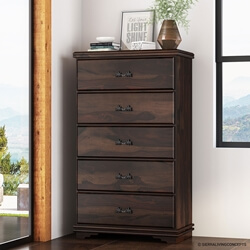 Modern Pioneer Solid Wood 5 Drawer Tall Dresser Chest