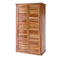 Livingston Louver Door Large Rustic Solid Wood Armoire Wardrobe Closet