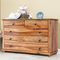 Livingston Rustic Solid Wood Bedroom Dresser With 5 Drawers