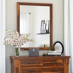 Modern Farmhouse Solid Wood Rustic Vanity Mirror Frame