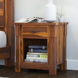 Modern Farmhouse Solid Wood 1 Drawer Nightstand