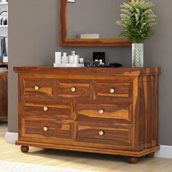 Pecos Solid Wood 7 Drawer Bedroom Dresser Chest