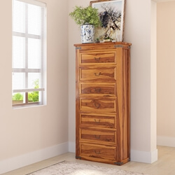 Classic Shaker Solid Wood Tall Bedroom Dresser Chest With 7 Drawers