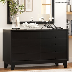 Modern Simplicity Solid Wood Black Bedroom Dresser With 8 Drawers