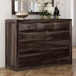 Modern Pioneer Solid Wood 9 Drawer Dresser Chest