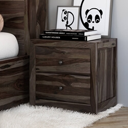Modern Pioneer Solid Wood 2 Drawer Nightstand