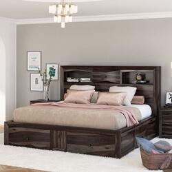 Modern Pioneer Solid Wood Storage Captains Bed