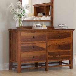 Mission Modern Solid Wood 6 Drawer Bedroom Double Dresser