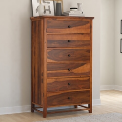 Mission Modern Solid Wood 6 Drawer Bedroom Tall Dresser