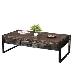 Philadelphia Rustic Mango Wood 3 Drawer Industrial Coffee Table