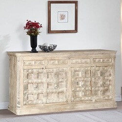 Pomeroy Rustic Solid Wood 4 Drawer Large Sideboard Cabinet